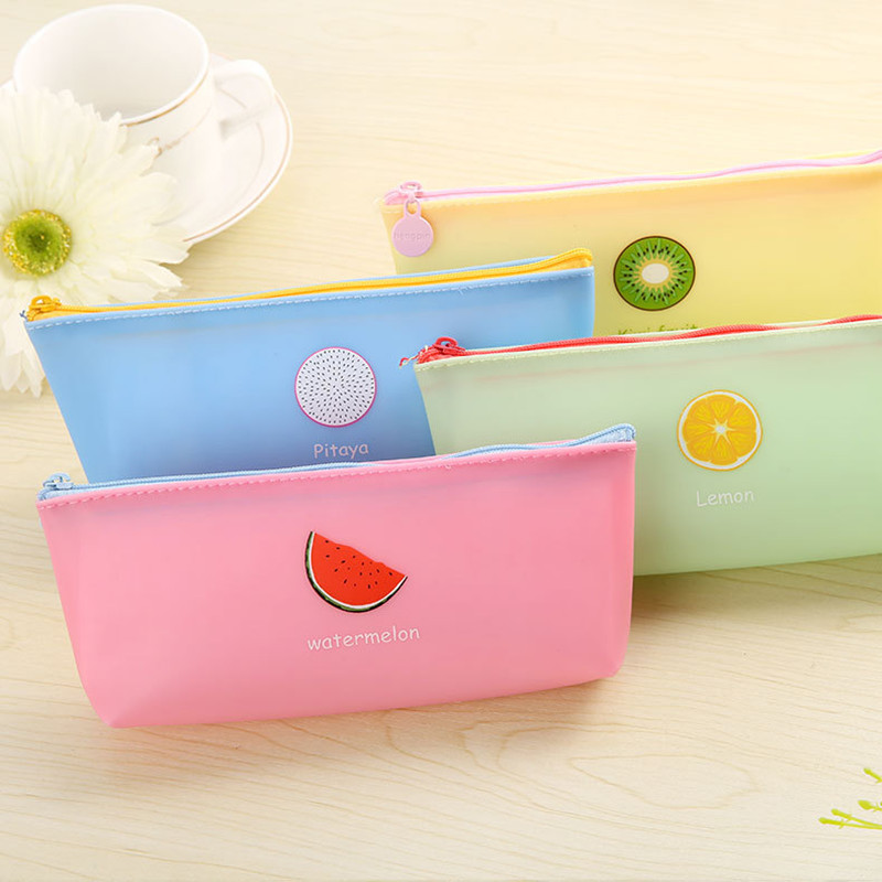 Big capacity summer fruit kiwi lemon Pencil Case PU Cute School Supplies Stationery Gift School Pencil Box Pencilcase Pencil Bag fruit print pencil case