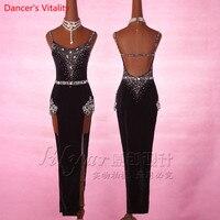 Senior Rhinestone Embroider Dress Women Latin Dance Dress Competiton Clothing Girls Latin Salsa Dance Stage Performance Costume