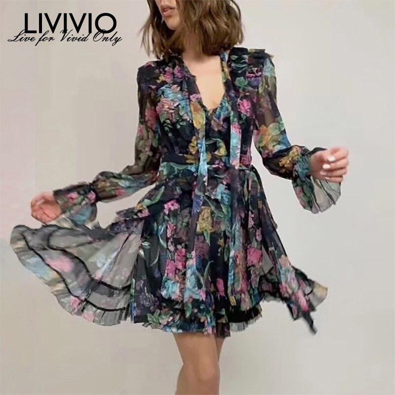 LIVIVIO Vintage Print Women Dress V Neck Flare Sleeve High Waist Bandage Slim Asymmetrical Mini