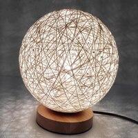 라운드 220 볼트 등나무 공 디자인 Takraw 밤 빛 테이블 램프 복도 침대 옆 벽 홈 장식