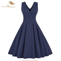 SISHION 2017 Spring Summer Red Dark Blue Women Dress A Line Plus Size 50s 60s Rockabilly