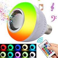 Rvb sans fil Bluetooth haut-parleur ampoule musique jouant économie d'énergie RGB Soptlight E27 lumière LED lampe avec télécommande