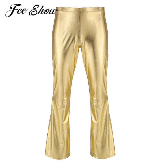 Men Pants Fashion Shiny Metallic Holographic Pants Club Wear Disco Leisure Long Pants Costume Casual Flared Bell Bottom Trousers 1