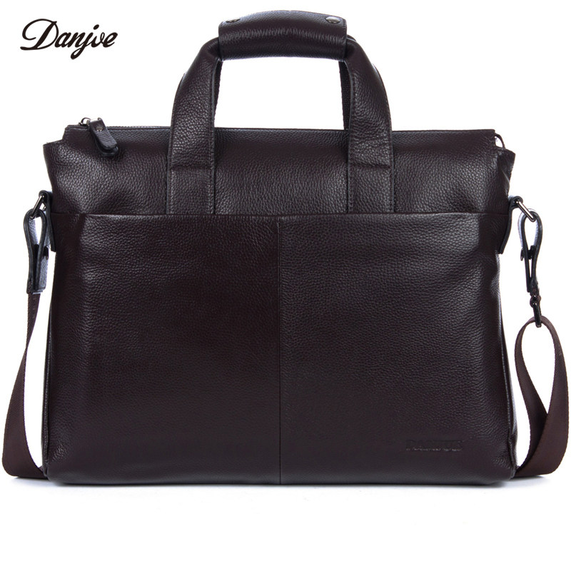 DANJUE Genuine Leather Men Handbag Fashion Briefcase Bag Cowhide Shoulder Bag Business Man Solid 14 Inches Laptop Bag Male men s black soft cowhide back pack multifunctional genuine cow leather12 9 inches laptop rucksack male schooltravel shoulder bag
