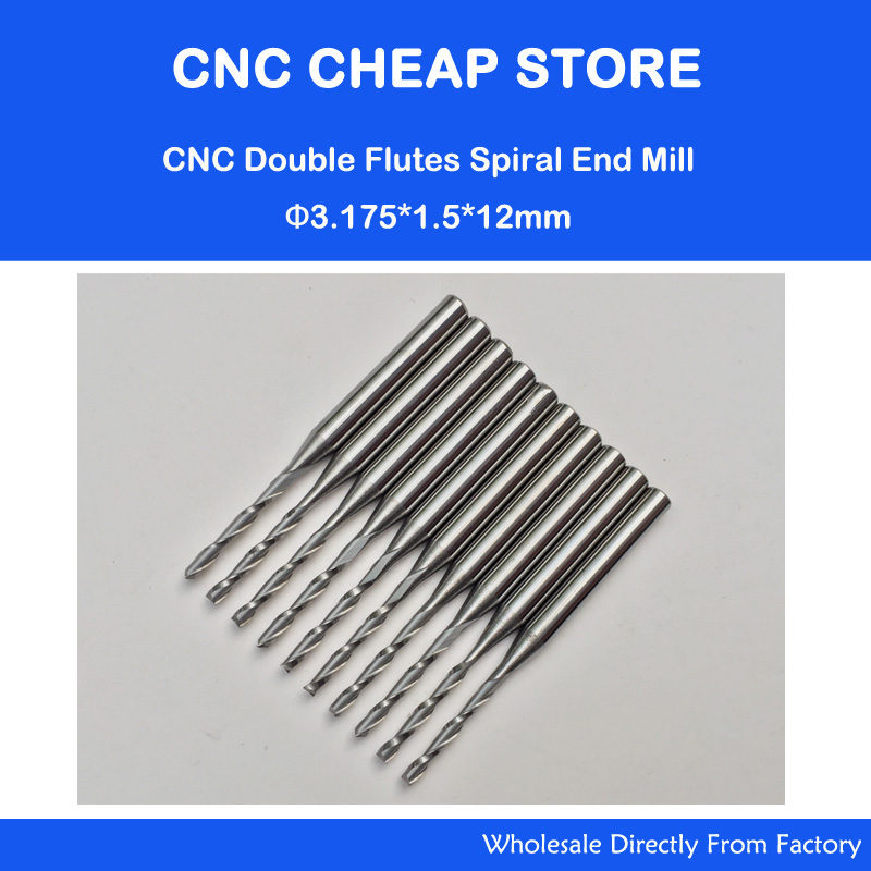10x 1.5mm Carbide CNC Double/Two Flute Spiral Bits CEL 12mm end mills engraving router cutters 6 32 super solid carbide one flute spiral bits for cnc engraving machine aaa series