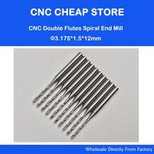 10x1.5mm Carbide CNC Double/Dois Flauta Espiral Bits CEL 12mm end mills cortadores de gravura router