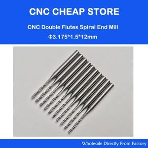 Image 1 - 10x1.5mm carbure CNC Double/deux cannelures spirale Bits CEL 12mm fraises en bout gravure routeur fraises