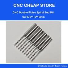 10x1.5mm 초경 cnc 더블/두 플루트 나선형 비트 cel 12mm 엔드 밀 조각 라우터 커터