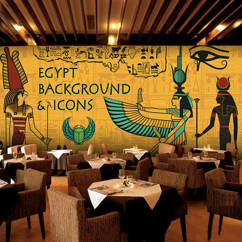 Custom mural wallpaper ancient egypt large wall murals bar for Mural restaurant
