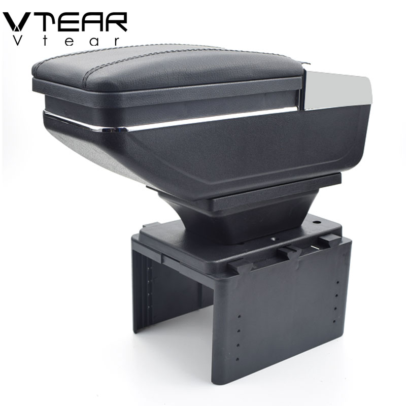 Vtear For Hyundai I20 hb20 i10 armrest box PU Leather central Store content box cup holder