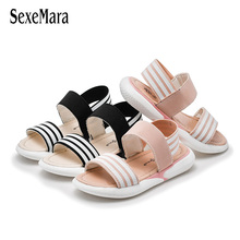 2019 Kids Shoes Black White Stripe Girls Sandals Slip-proof Soft Sole Boys Sandals Casual Beach Shoes Black White Stripes C03062 цена и фото