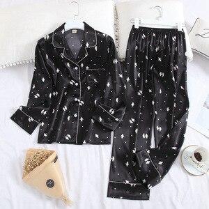 Image 5 - 2020 New Two Piece Women Pajamas Sets Silk Satin Pyjamas Autumn Print Long Sleeve Sleepwear Set Plus Size Home Clothes Pijamas