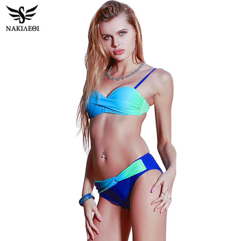 NAKIAEOI 2019 Sexy Bikini Push Up Swimwear Women Swimsuit Bandeau Gradient Color Brazilian Bikini Set Beachwear Bathing Suits
