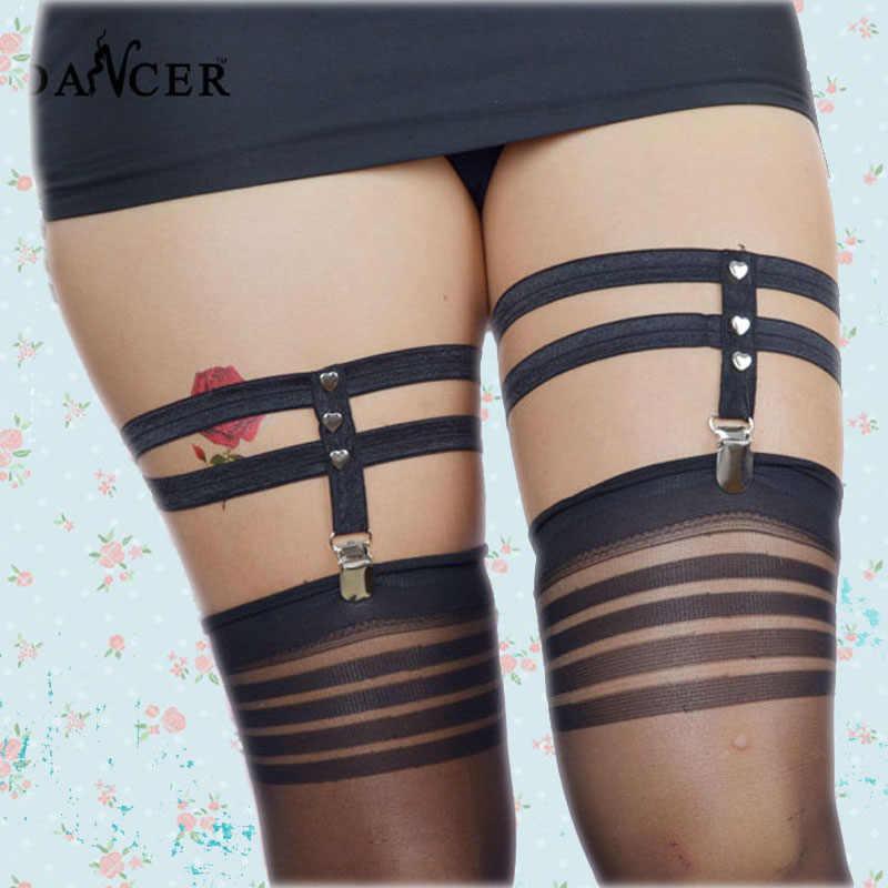 ... 2 pcs Heart Garter Harajuku Women cosplay Goth Leg Harness Rivet Faux garter  belt lingerie elastic 7b1a82b38f46