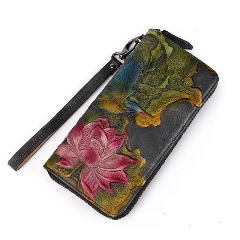 PNDME high quality vintage printed genuine leather ladies wallet top layer cowhide long zipper female purse for women phone bags in Wallets from Luggage Bags