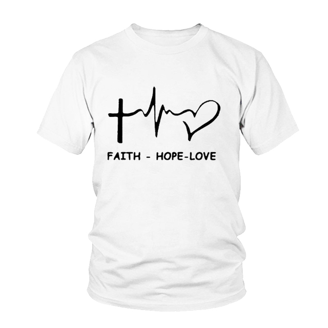 Beopjesk Womens Love Faith T-Shirts Casual Short Sleeve Thanksgiving Cross Heart Printed Graphic Tees Tops