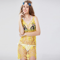 Yellow Solid Floral Beach Dress Handmade Crochet Swimsuit Women Swimwear White Beach Cover Up Saida De