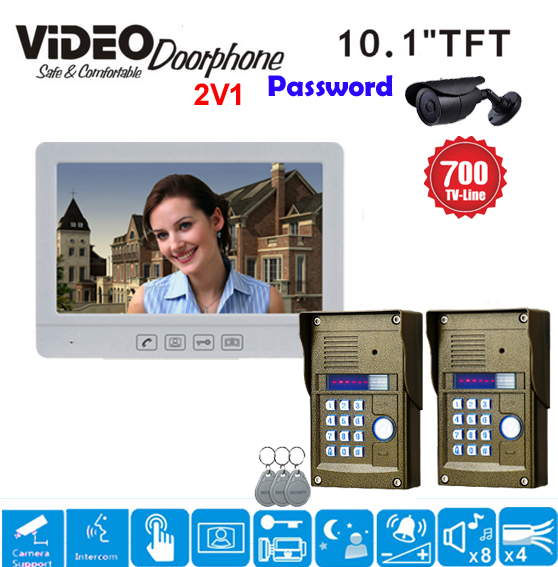 ZHUDELE Home Security Intercom System 10.1 Video Door Phone,RFID Panel Camera with Water-proof Cover In Stock 2Cameras+1Monitor