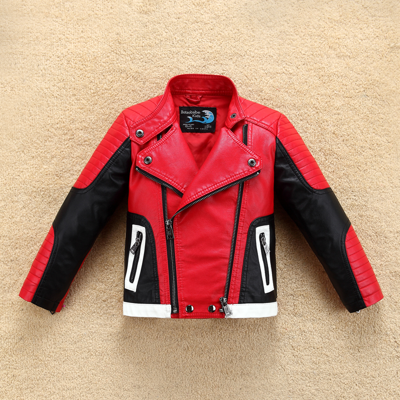 Image 2 - Handsome Cool Design Boys Leather Motor Jacket for Autumn Spring Kids Warm Coat Bomber  baby boy winter clothes-in Jackets & Coats from Mother & Kids