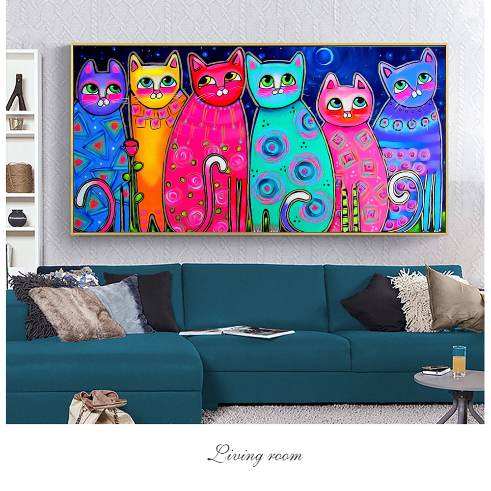 Colorful Cats Canvas Paintings For Kids Room Wall Posters And Prints Pop Art Decorative Canvas Prints Cuadros Picture Home Decor