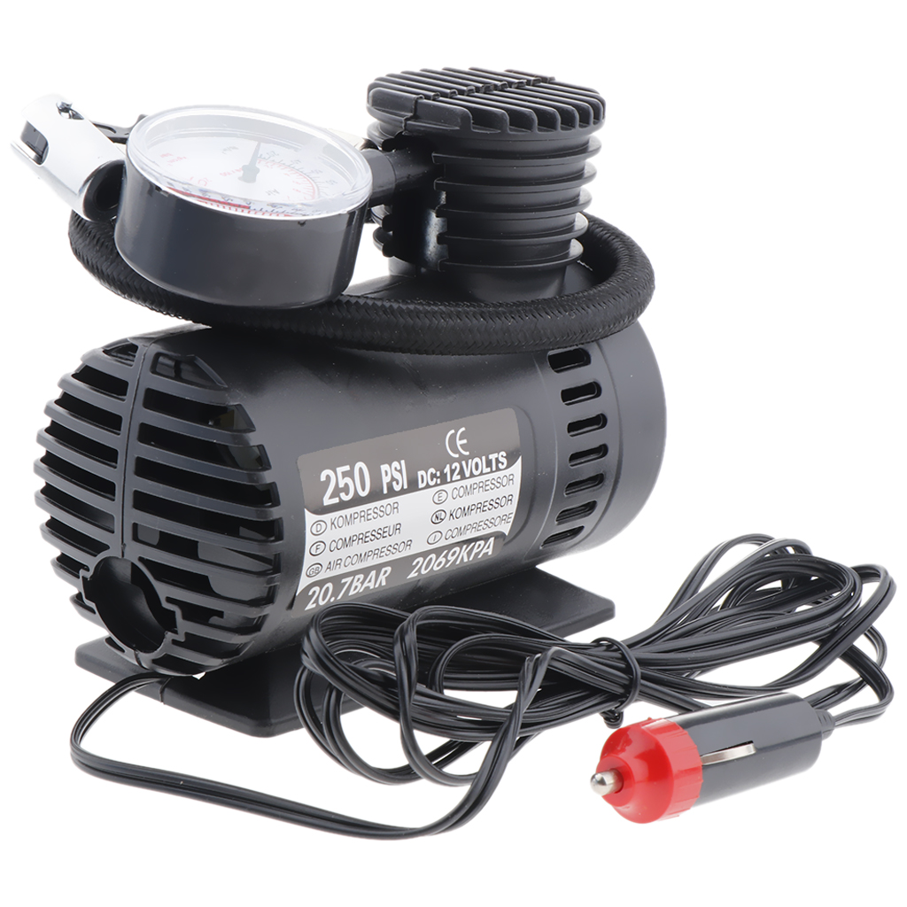 1 Set DC 12V 300 PSI Portable Air Compressor Car Truck Tyre Pump Electric For Car Motorcycle Tricycle Electric Car ATV Etc