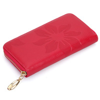 Genuine Leather Long Design Purse Women Wallet New First Layer Of Cowhide Female Wallets Zipper Flower