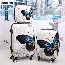 Conto de viagem 20 24 polegadas borboleta girador trole mala conjunto rolando bagagem saco sobre rodas