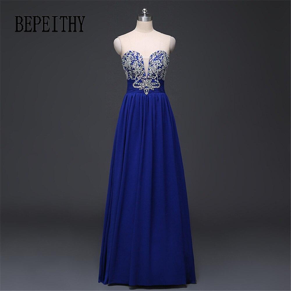 BEPEITHY Image réelle chérie bleu Royal en mousseline De soie longue robe De soirée en cristal partie Vestido De Festa pas cher robes De bal 2019
