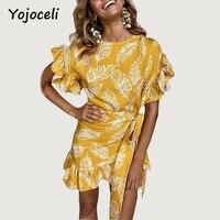 Yojoceli 2018 New Summer Print Big Ruffle Wrap Dress Women Spring Sashes Bow Party Elegant Dress