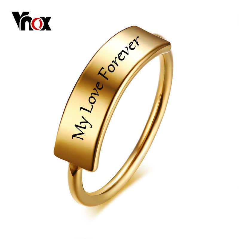 Vnox ปรับแต่งแกะสลักชื่อผู้หญิงแหวนทองสแตนเลสสตีลส่วนบุคคลของขวัญครบรอบวันเกิด