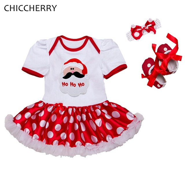 Santa Claus Christmas Clothes for Girls Newborn Lace Tutu Set with Headband & Crib Shoes Infant Vestido Dresses For Kids