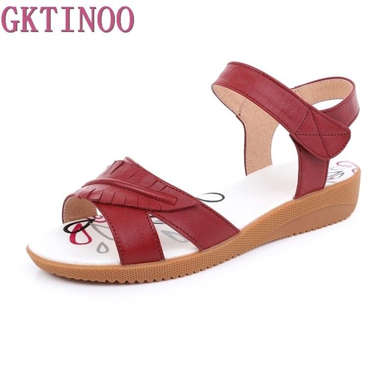 Besorgt Gktinoo 2019 Sommer Schuhe Mutterschaft Sandalen Frauen Mutter Schuhe Flache Weiche Echtes Leder Krankenschwester Schuhe Casual Frauen Sandalen Chinesische Aromen Besitzen