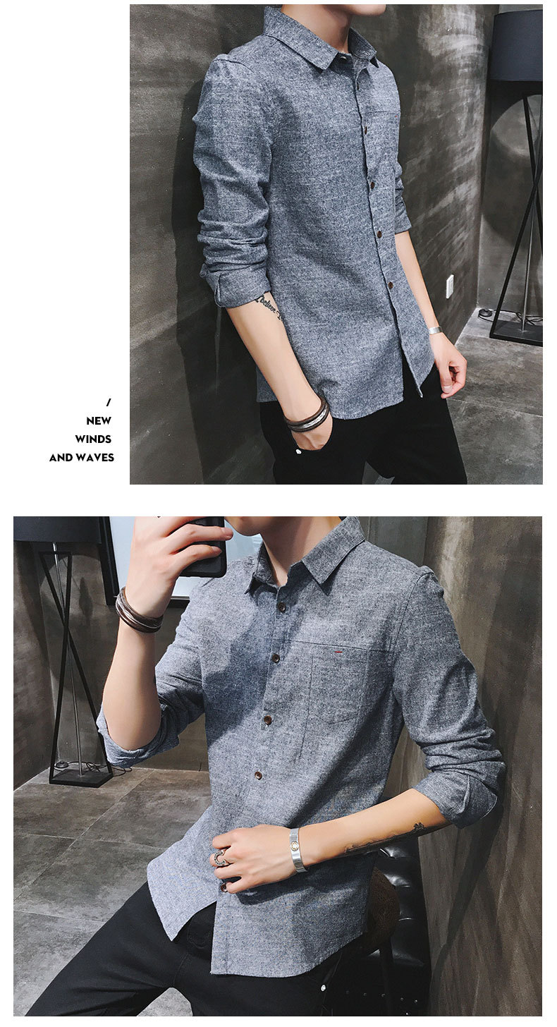 2019 spring new men's shirt Korean version of the self-cultivation youth casual business cotton shirt tide men's boutique shirt 35