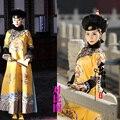 Película de la señora en el retrato actriz Fan Bingbing mismo diseño amarillo dinastía Qing emperatriz traje con delicados bordados