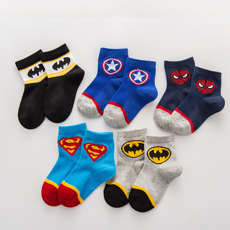 5 Pcs 2-8years Old Super Hero Kids Cartoon Socks Boys Straight Socks Children Christmas Socks Men Marvel Baby Cotton Socks