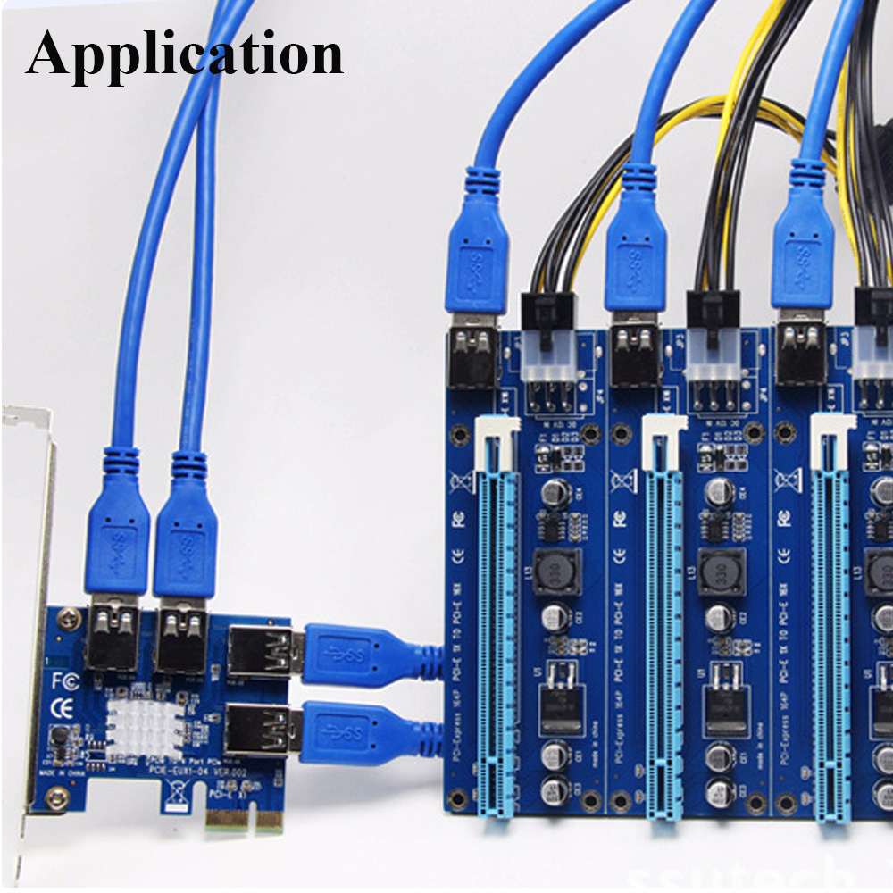 USB 3.0 PCI E PCI Express 1 to 4 Multiplier Card Express For DOS Linux Windows 7 8 10 1x to 16x Extender Riser Card Adapter PCIE