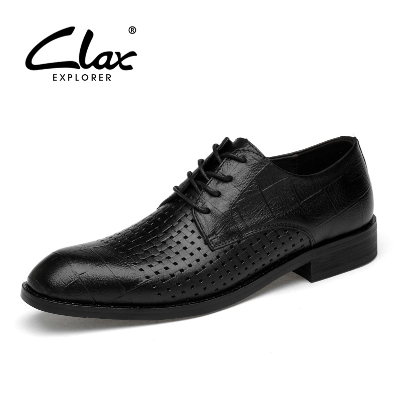 CLAX Mens Oxfords Genuine Leather Summer Breathable Dress Shoes Male Formal Shoe Wedding Shoe chaussure homme