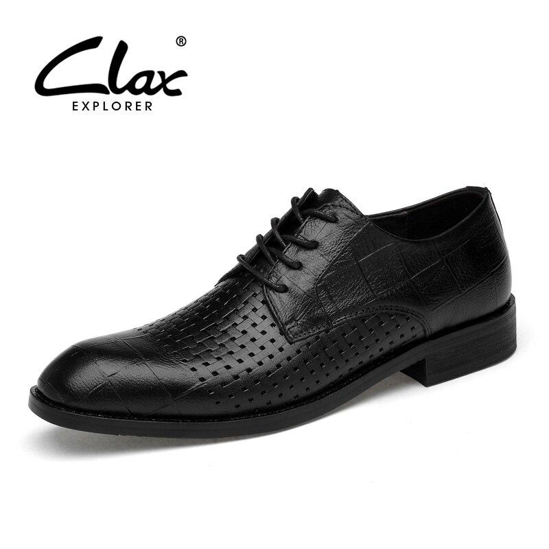 CLAX رجل أوكسفورد جلد طبيعي الصيف تنفس والاحذية الذكور الرسمي حذاء الزفاف حذاء chaussure أوم الرجعية نمط لينة-في أحذية رسمية من أحذية على  مجموعة 1