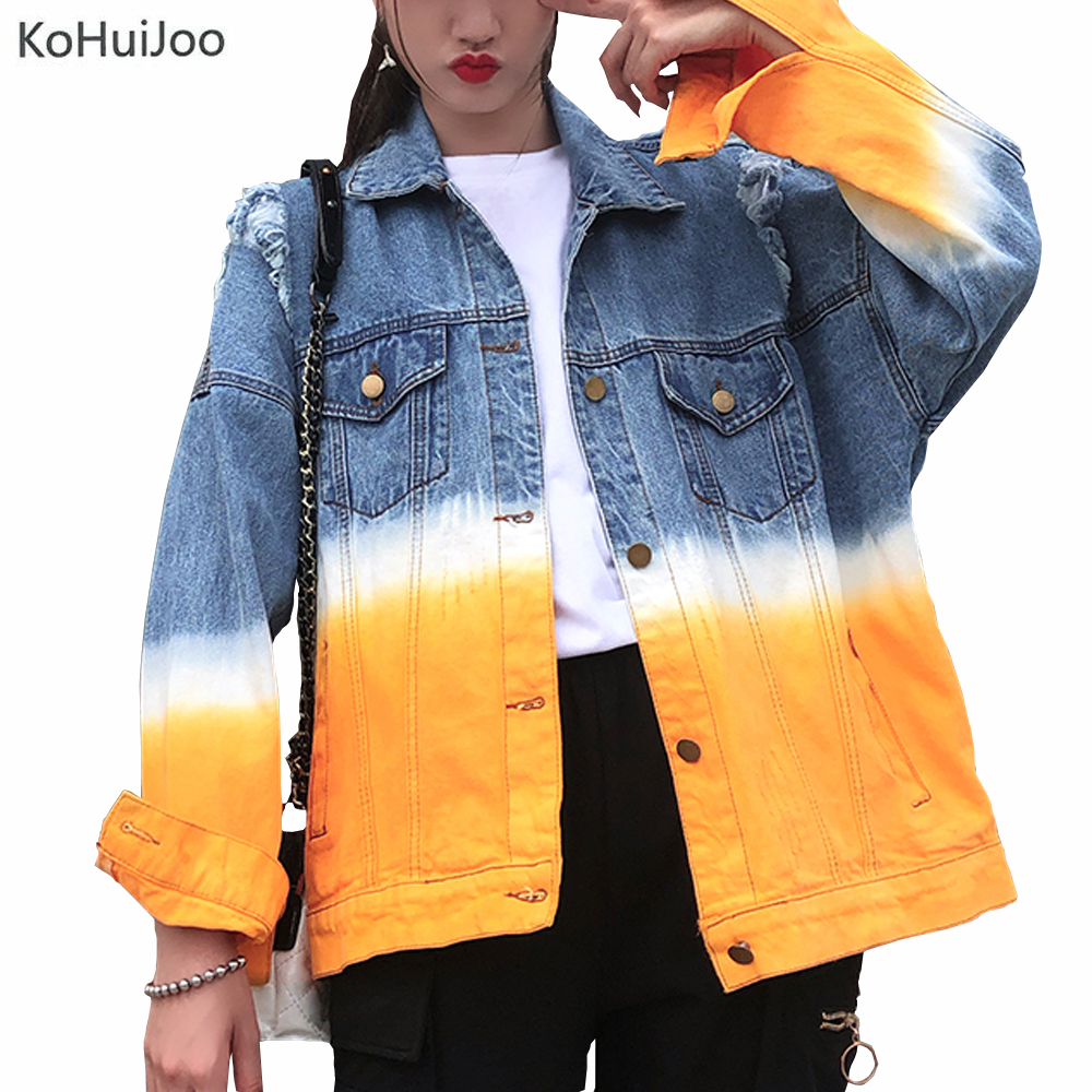 KoHuiJoo New Arriver Denim Jacket Women 2019 Fashion Turn   Down   Collar Single Breasted Gradient Jacket Long Sleeve Jeans   Coat