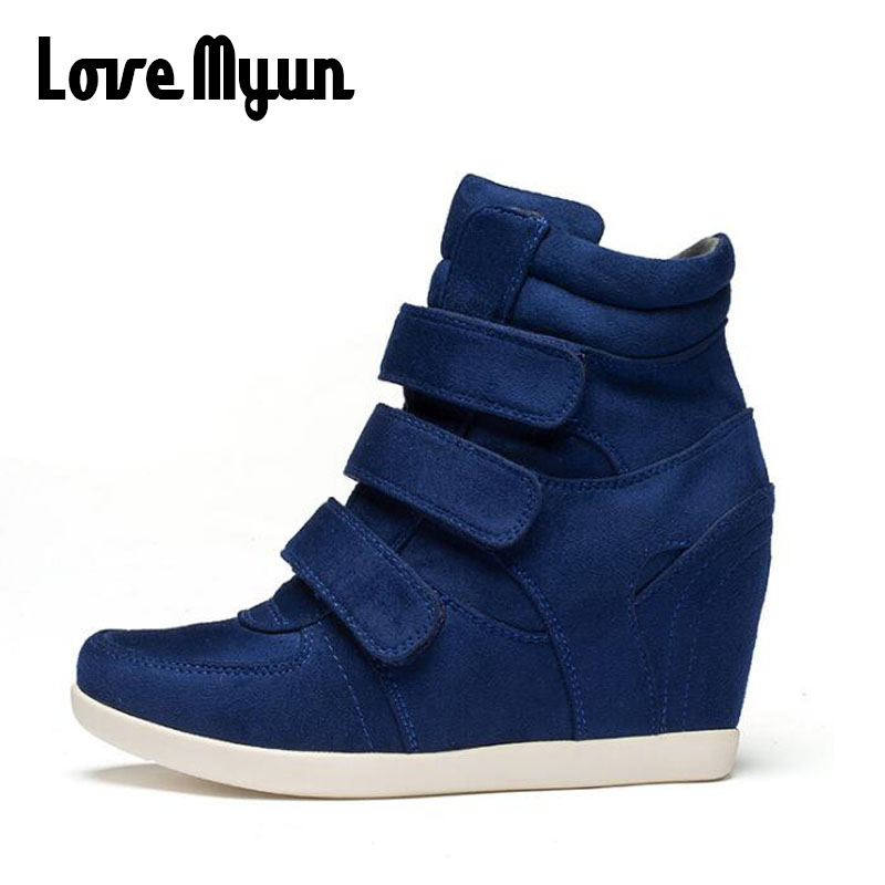 ALL black Woman Sneakers Casual Wedge flat Platform Shoes Breathable Ankle Boot Women high top Height Increasing Shoes KK-80