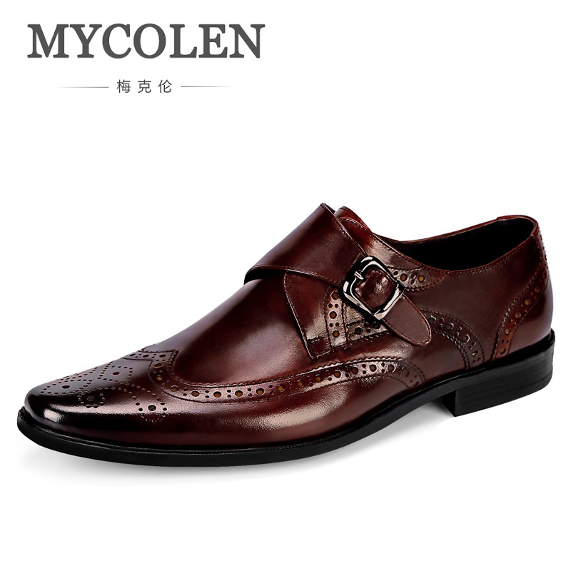 MYCOLEN Square Toe Genuine Leather Dress Shoes For Men Classic Brogues Lace Up Formal Business Dress Suit Shoe Buckle Strap 2017 men shoes fashion genuine leather oxfords shoes men s flats lace up men dress shoes spring autumn hombre wedding sapatos