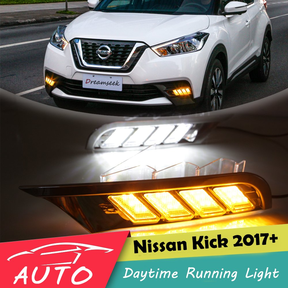 Kalaite Car LED DRL For Nissan Kicks 2017 2018 Daytime Running Lights with Turn Signal Fog Light Head Lamp cover car styling akd car styling led fog lamp for nissan tourle drl2008 2015 led daytime running light fog light parking signal accessories