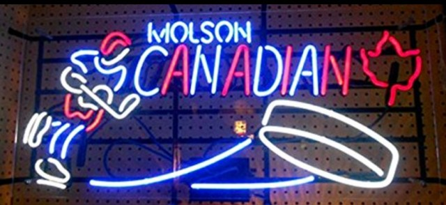 Molson Canadian Glass Neon Light Sign Beer Bar