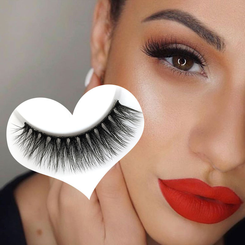 YOKPN Mink Hair Fake Eyelashes 5 Pairs Real Mink Fur False Eyelash Thick Crisscross Eye Lashes Short Curl 3D Eyelashes ...