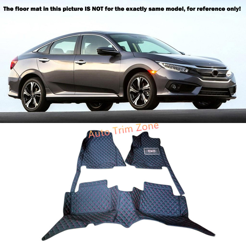 Black Interior Leather Floor Mats & Carpets Foot Pads Protector For Honda Civic 2016 Tenth Generation