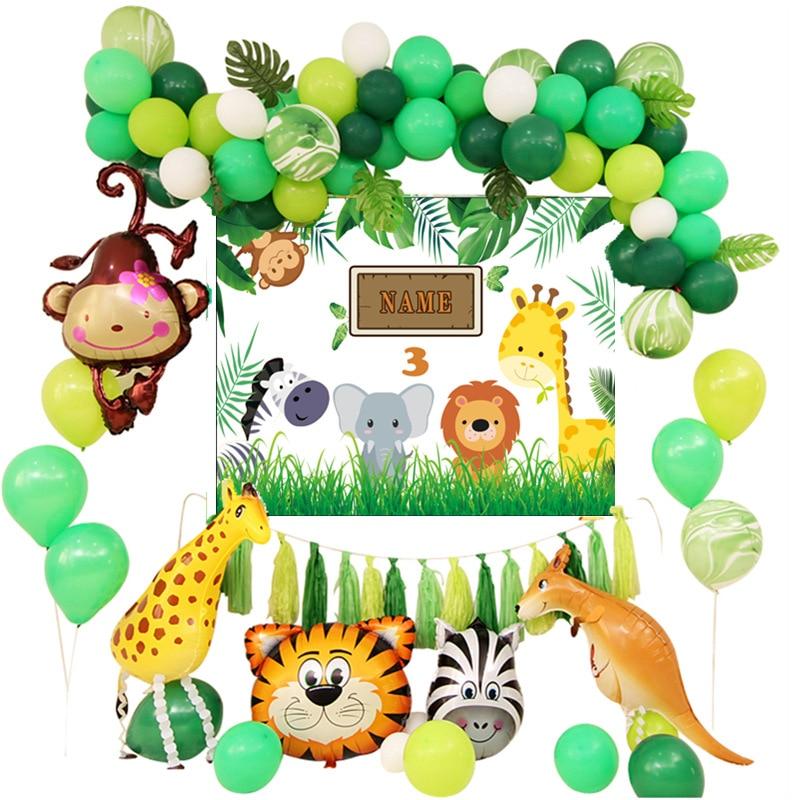 Huge Jungle Animal Zoo Safari Foil Air Helium Balloon Birthday Decoration TM