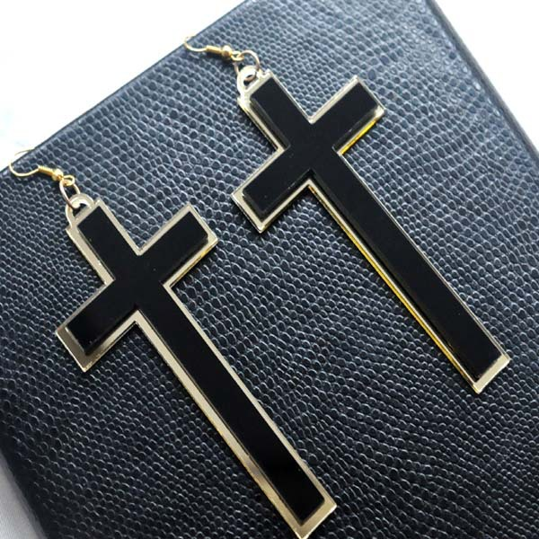 Punk Fashion Vintage Big Long Black Acrylic Cross Drop Earrings For - Fashion Jewelry - Photo 2
