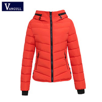 Warm WomAn Cotton Parkas 2017 Winter Jacket Women Short Black Red Female Clothing Ladies Slim Hooded
