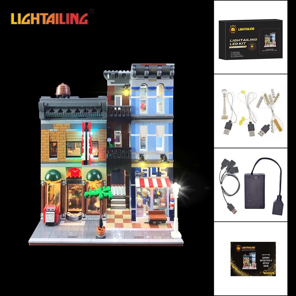 LIGHTAILING Led Light Up Kit For Creator City Street Detective's Office Building Block Light Set Compatible With 10246 And 15011 led light up kit gor city model building block figures accessories kit toys for children compatible with lepin