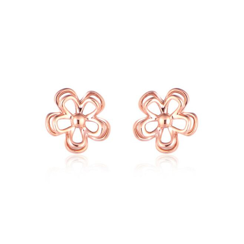 2018 Fashion Design AU750 Earrings for Women Hollow Out Flower Stud Earrings Simple 18K Gold Ear Jewelry 0.50g pair of sweet rhinestone hollow flower design earrings for women